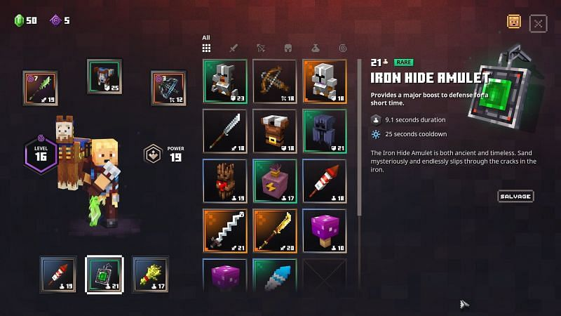 Shown: Iron Hide Amulet Stats (Image via Minecraft Dungeons)