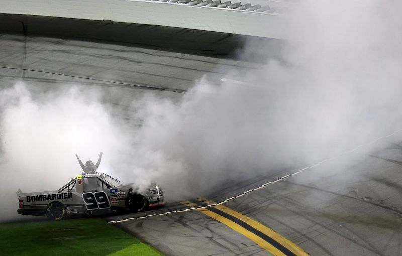 Ben Rhodes celebrates his win on the Daytona Road Course. (Photo by James Gilbert/Getty Images)