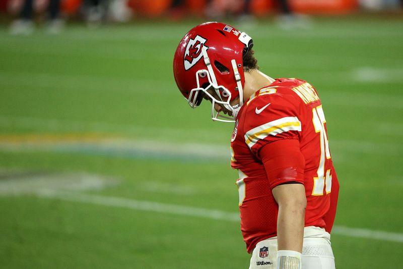 Patrick Mahomes reacts during Super Bowl LV