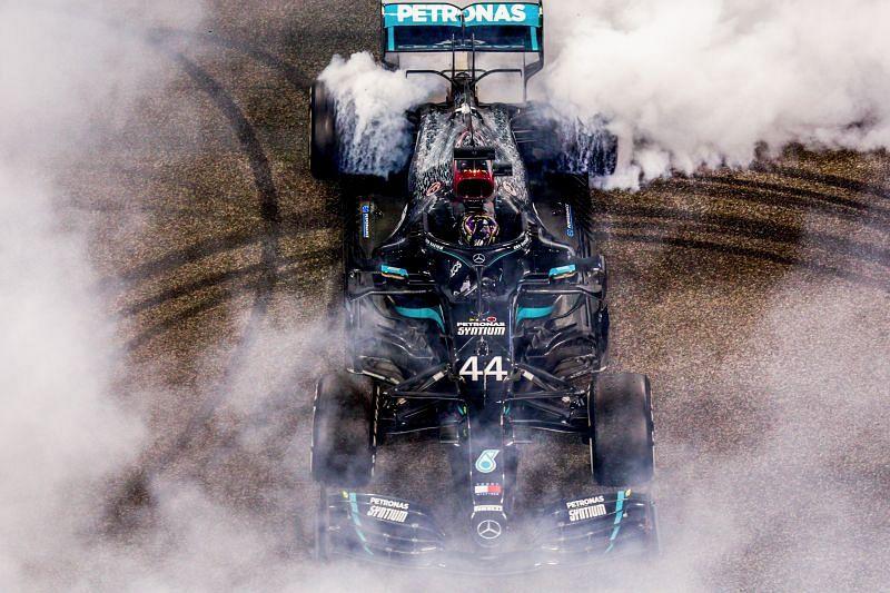 Lewis Hamilton celebrates 2020 with a burnout. Photo: Peter Fox/Getty Images