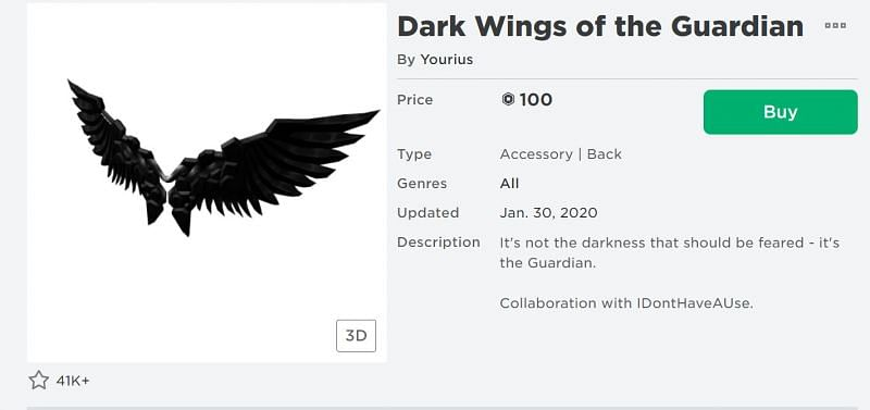 The Dark Wings of the Guardian back accessory from the Roblox Avatar Shop (Image via Roblox.com)