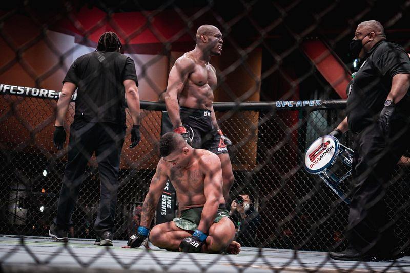 Kamaru USman defeated Gilbert Burns via third-round TKO at UFC 258