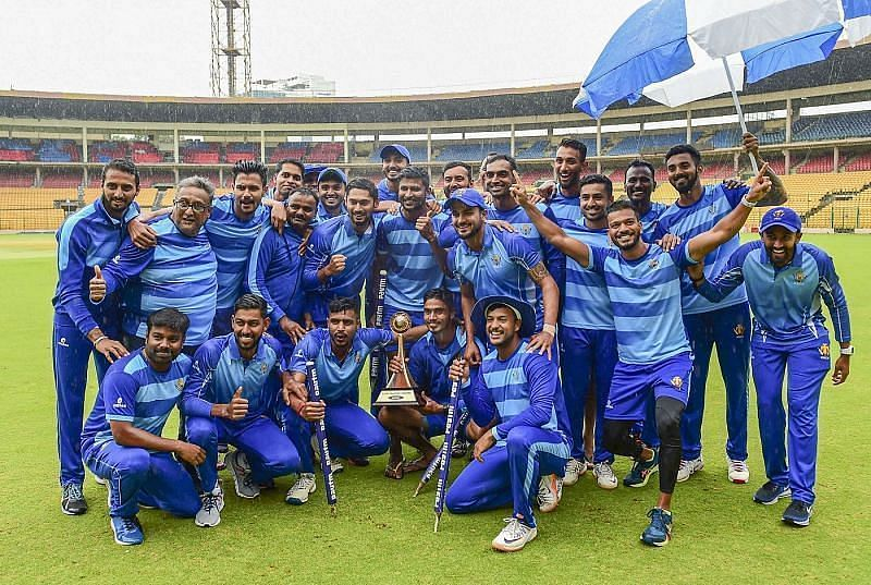 Karnataka with the Vijay Hazare Trophy