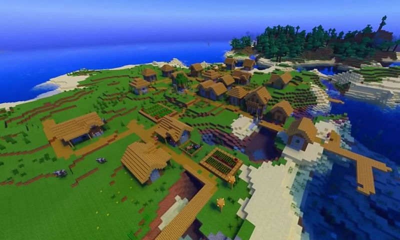 Two connected islands in Minecraft with a village on one and a forest on the other (Image via Minecraft & Chill/YouTube)