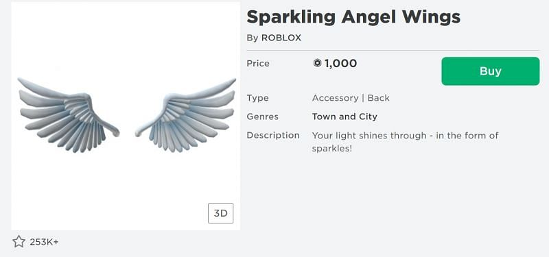 The Sparkling Angel Wings back accessory from the Roblox Avatar Shop (Image via Roblox.com)