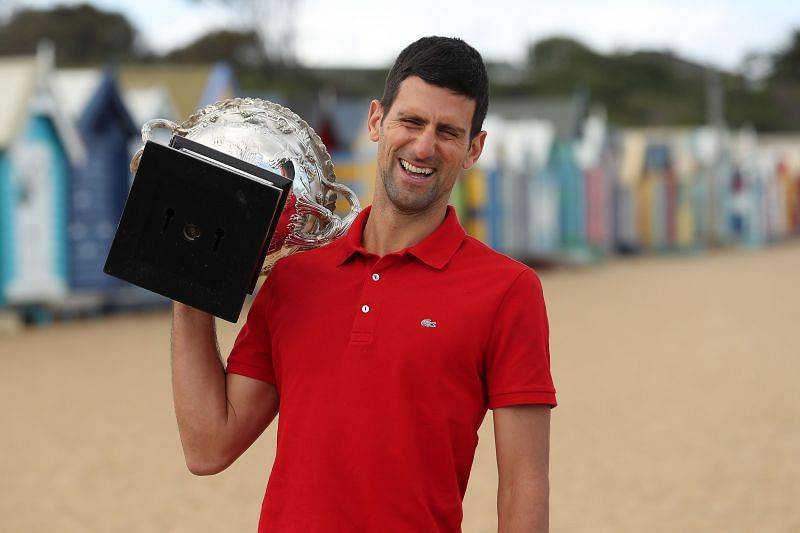 Novak Djokovic with the 2021 Australian Open Men
