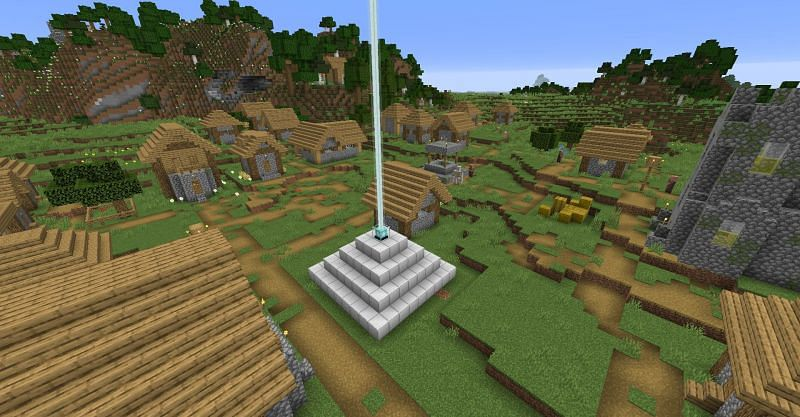 A fully powered beacon inside of a village in Minecraft. (Image via Minecraft)