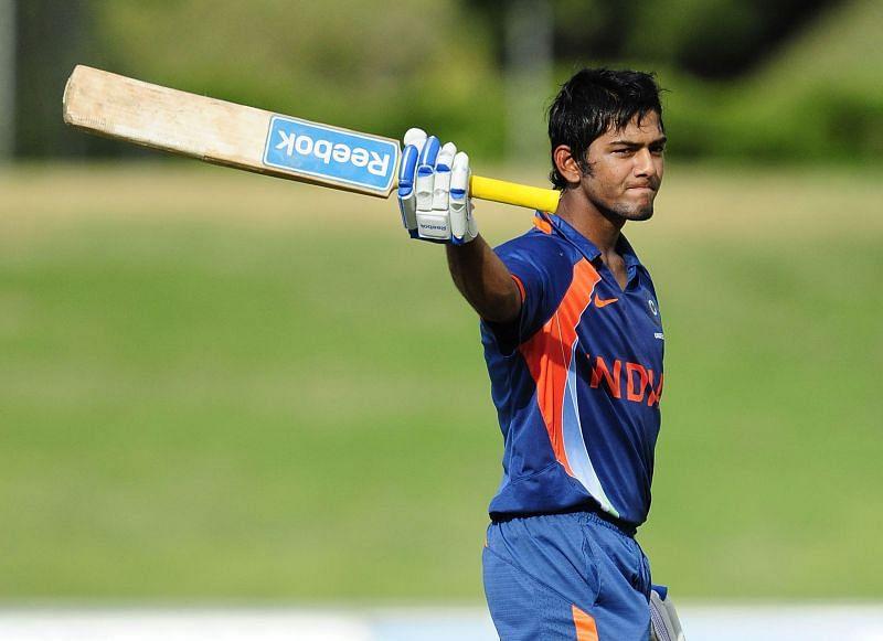 Unmukt Chand after bringing up his hundred in the U-19 quadrangular final on April 15, 2012