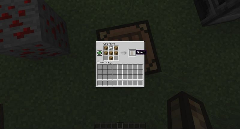crafting a shield in Minecraft