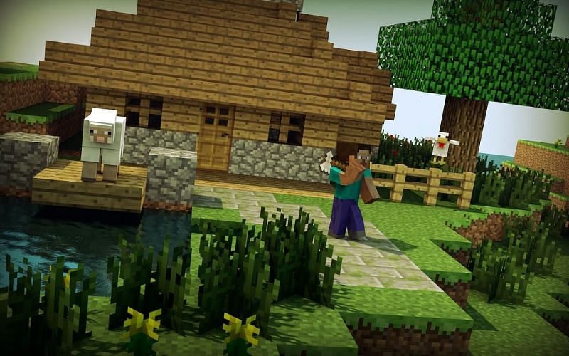 Steve near a house, chicken, and sheep in Minecraft (Image via planetminecraft.com)