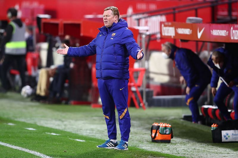 FC Barcelona manager Ronald Koeman reacts during Copa del Rey Semi Final First Leg vs Sevilla
