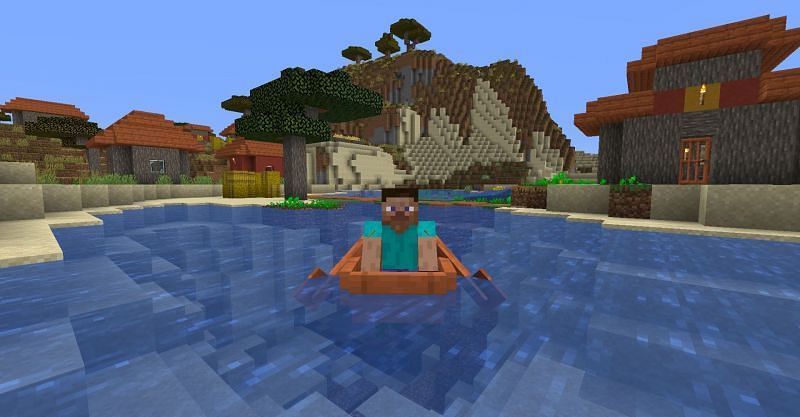 Steve in a boat in Minecraft (Image via Minecraft)