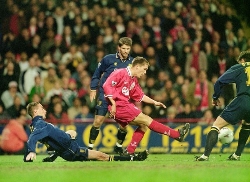 Michael Owen (in pink) won the Ballon d