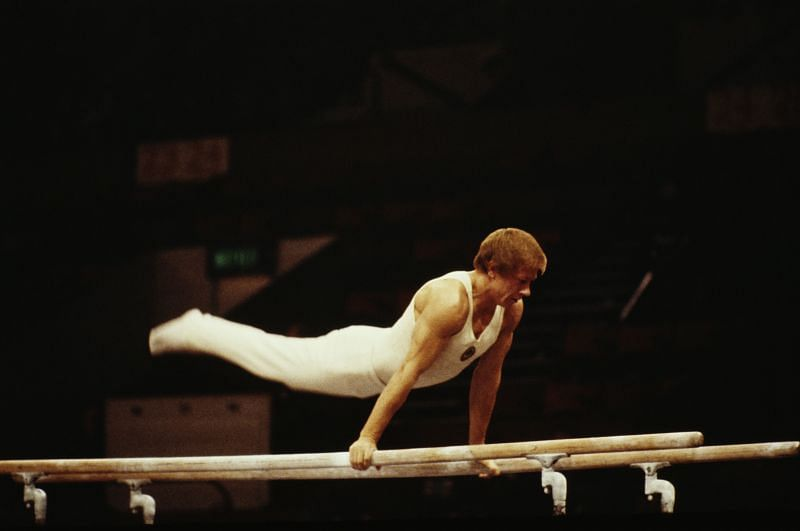Nikolai Andrianov of the Soviet Union performs during the Men