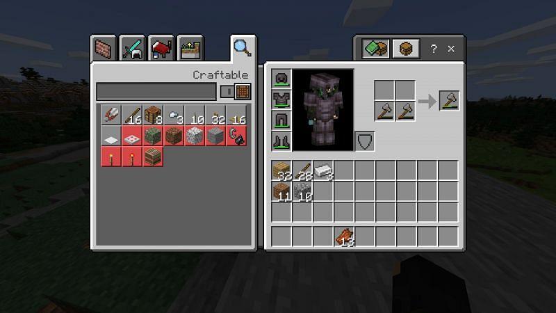 Repairing your axe in Minecraft