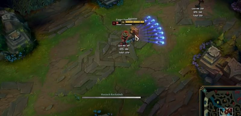 Hextech Rocketbelt allows Katarina to dash in normal conditions (Screengrab via Katlife YouTube channel - League of Legends )