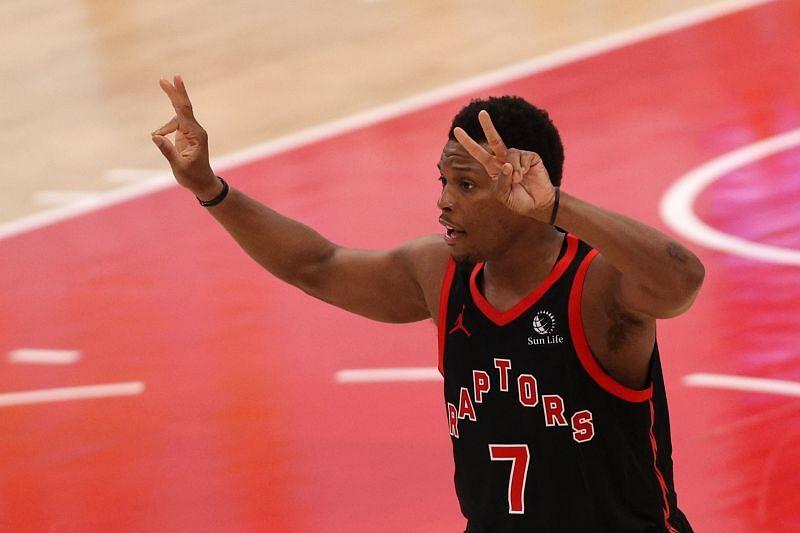 Kyle Lowry (#7) of the Toronto Raptors celebrates a three-pointer.