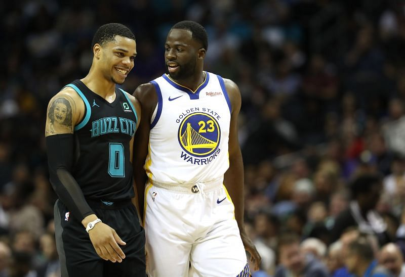 Draymond Green of the Golden State Warriors in action against the Charlotte Hornets
