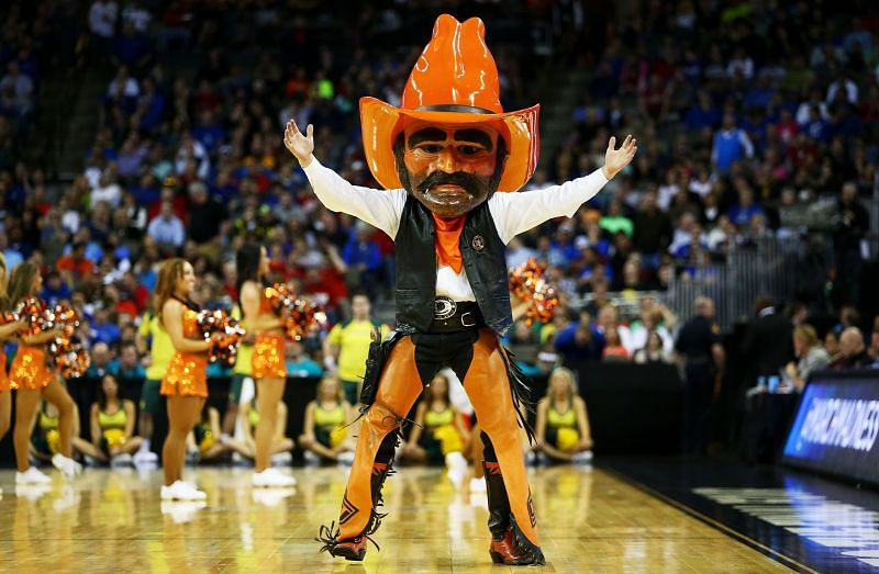 The Oklahoma State Cowboys mascot performs.