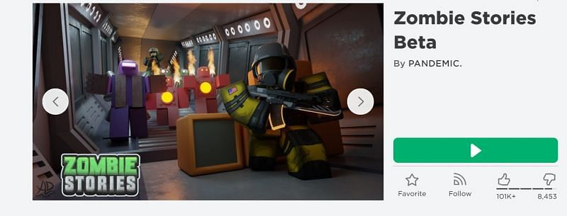 The Zombie Stories game on Roblox (Image via Roblox.com)