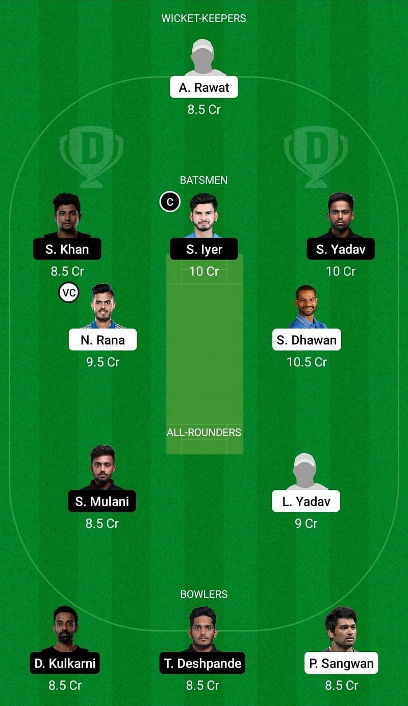 Dream11 Team for Delhi vs Mumbai - Vijay Hazare Trophy.