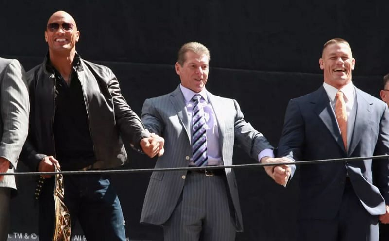 The Rock, Vince McMahon, and John Cena