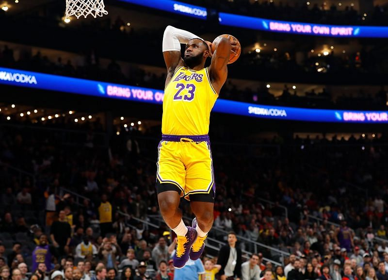 NBA DFS option LeBron James #23 of the Los Angeles Lakers