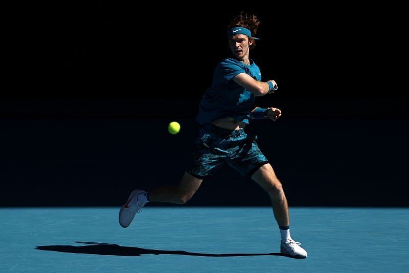 Andrey Rublev during his third round match at the 2021 Australian Open