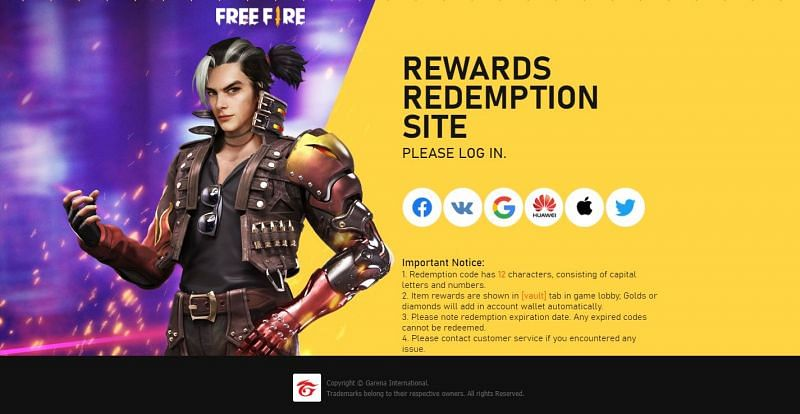 Log in on the redemption site of Free Fire.