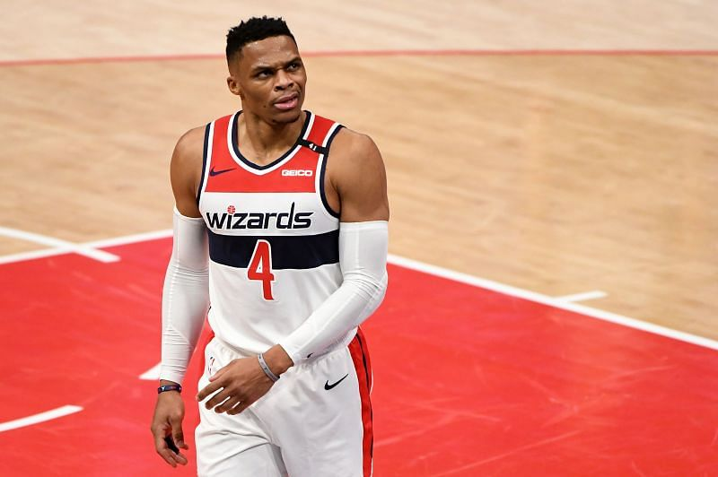 Russell Westbrook #4 of the Washington Wizards reacts after a play