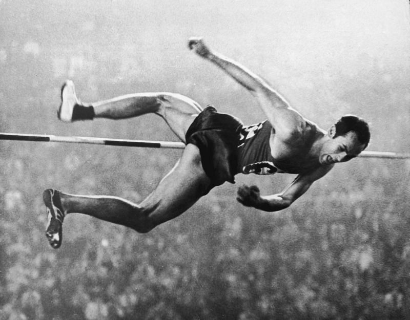 Soviet athlete Valeri Brumel in the High Jump event during the Olympic Games in Tokyo in 1964.
