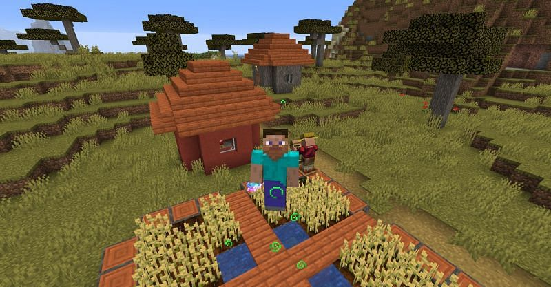 Jumping higher by using a Potion of Leaping II in Minecraft. (Image via Minecraft)