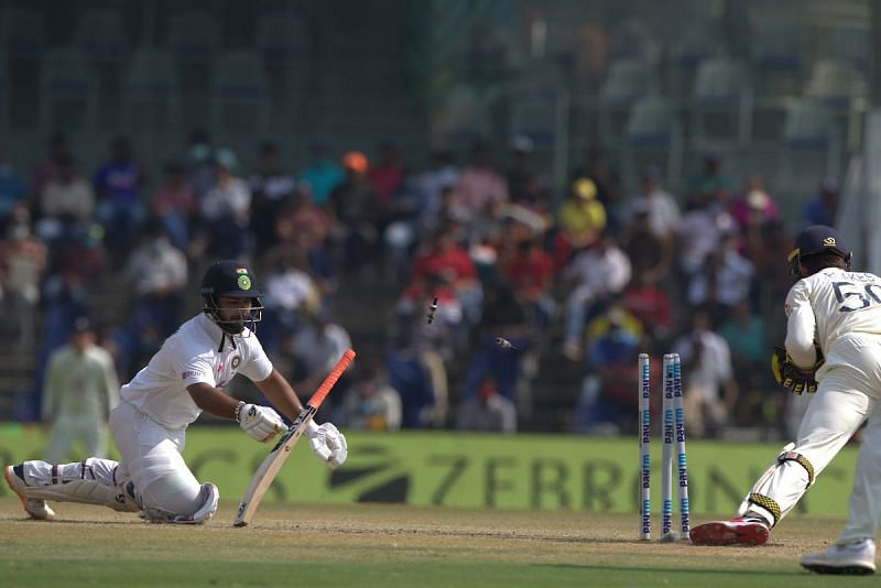 Rishabh Pant fell to Jack Leach in the second innings.