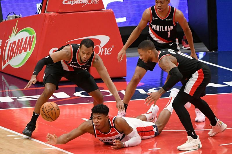 Damian Lillard and Rodney Hood in action during a Portland Trail Blazers vs Washington Wizards game
