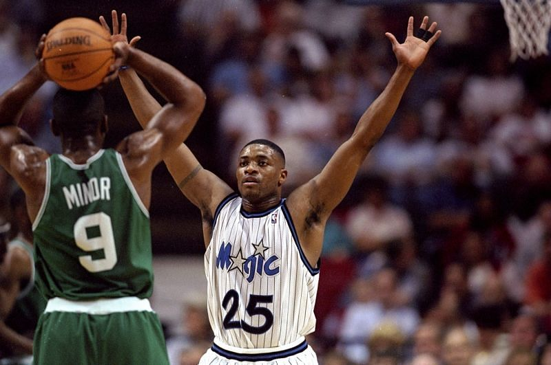 Guard Nick Anderson of the Orlando Magic (right) in action against guard Greg Minor of the Boston Celtics. Photo Credit: Andy Lyons /Allsport