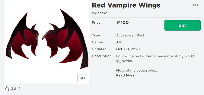 The Red Vampire Wings back accessory from the Roblox Avatar Shop (Image via Roblox.com)