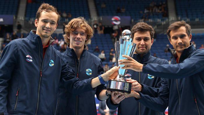 Aslan Karatsev teamed up with Danii Medvedev and Andrey Rublev to win the 2021 ATP Cup