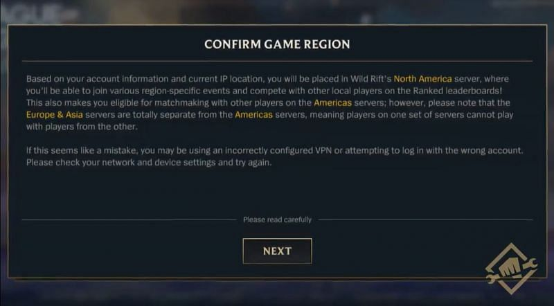 The pop-up meant for VPN players in the Americas (Image via Wild Rift dev