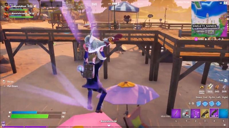 Players lands on an umbrella and gets a speed boost with chicken (Image Via Reddit/u/DaBloodyResh)