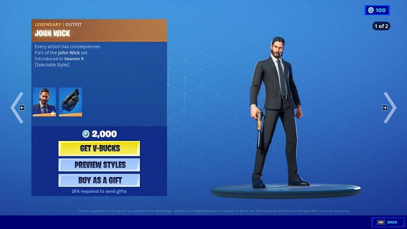 Clean looking John Wick ready for anything (Image Via Epic Games/Fortnite)