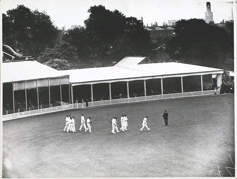 England players take field against Australia at The Oval in August, 1912