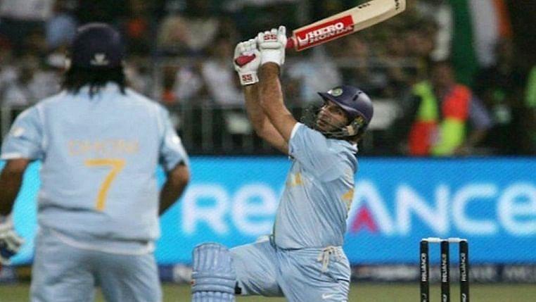 Yuvraj Singh hit six sixes off a Stuart Broad over.