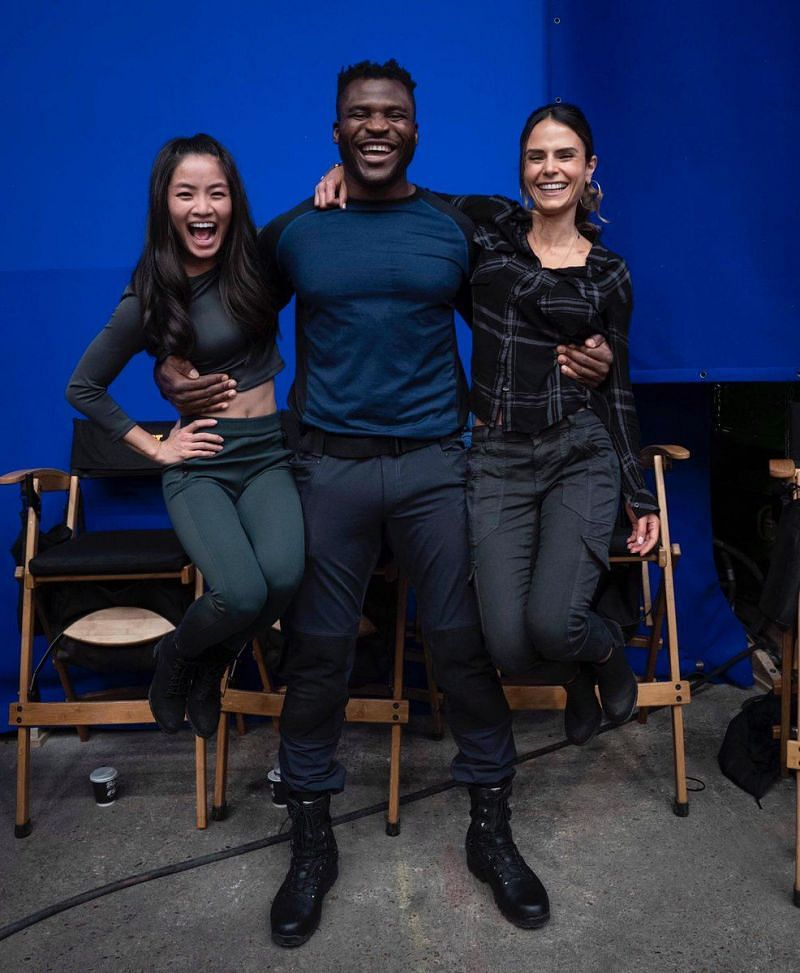 Francis Ngannou with cast members of Fast and Furious 9