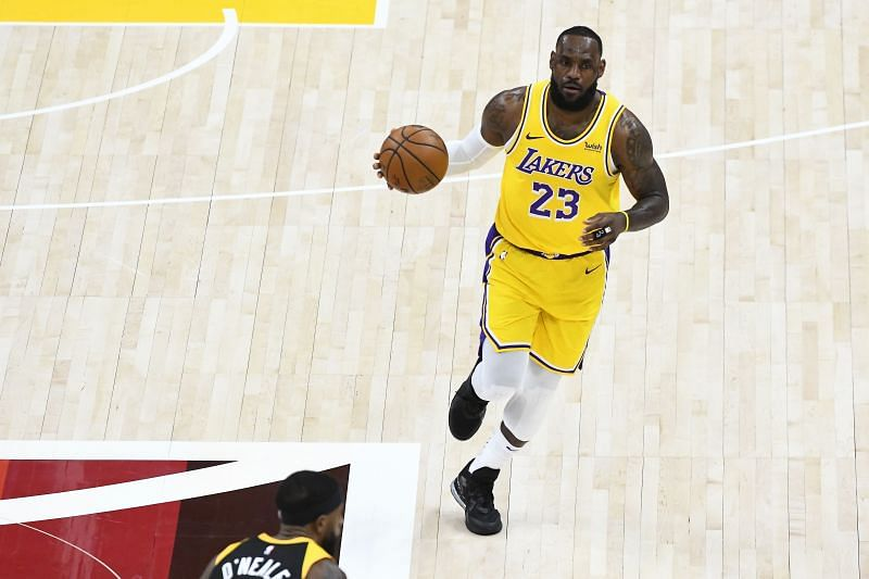 LeBron James #23 of the Los Angeles Lakers in action during a game