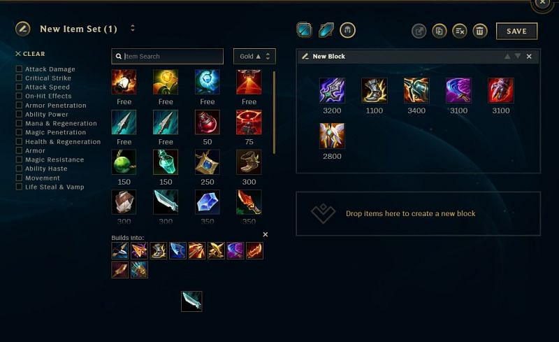 Viego standard items (Image via Riot Games)