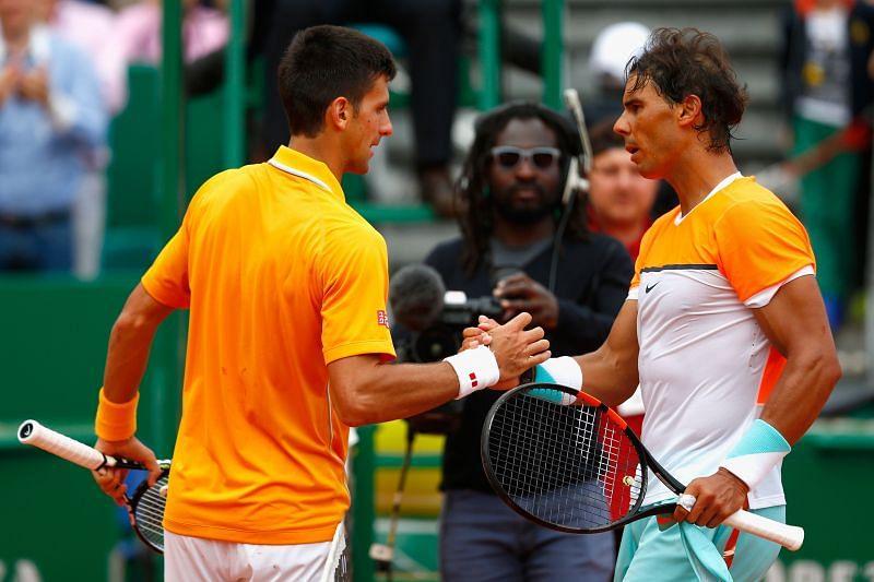 Novak Djokovic and Rafael Nadal at the Monte Carlo Masters tennis event in 2015