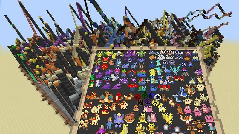 Pokemon map art in Minecraft (Image via YouTube)