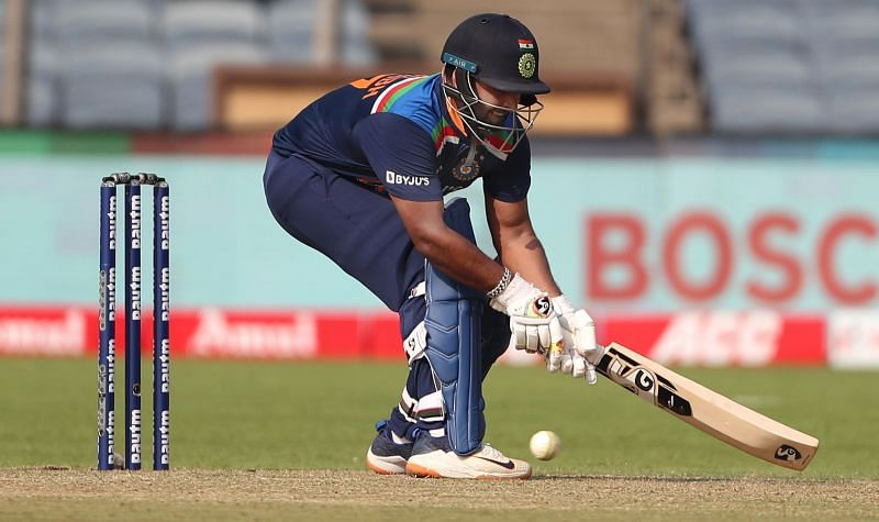 Rishabh Pant in action in the second ODI against England.