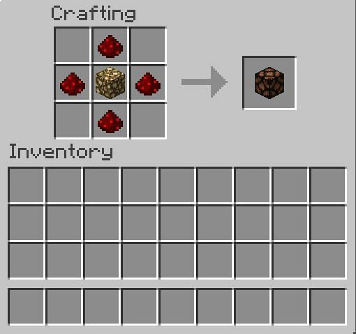 In the first row, place 1 Redstone in the middle box. In the second row, there should be 1 Redstone in the first box, 1 glowstone in the second box, and 1 Redstone in the third box