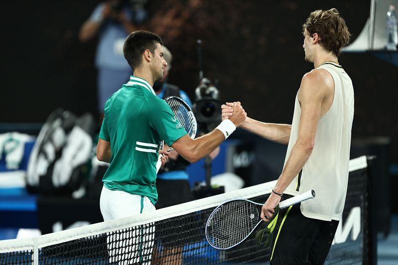 Novak Djokovic (L) and Alexander Zverev at the 2021 Australian Open